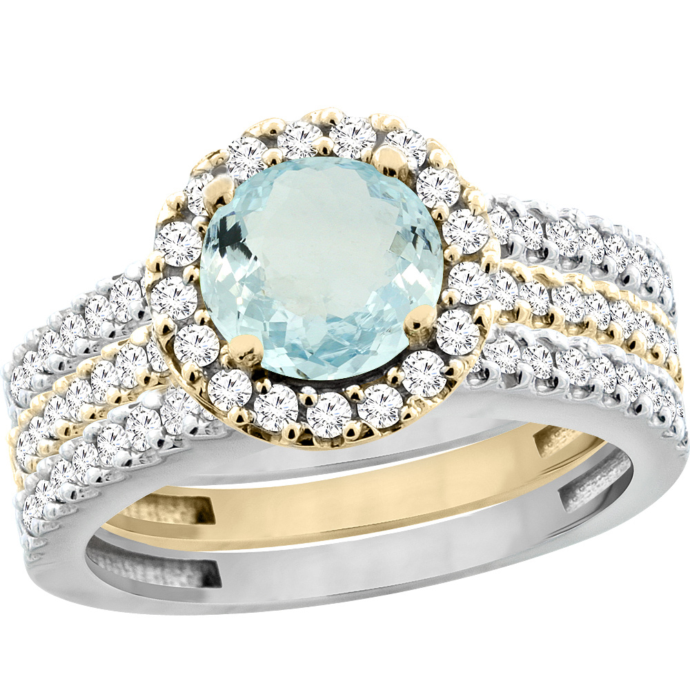 14K Gold Natural Aquamarine 3-Piece Ring Set Two-tone Round 6mm Halo Diamond, sizes 5 - 10