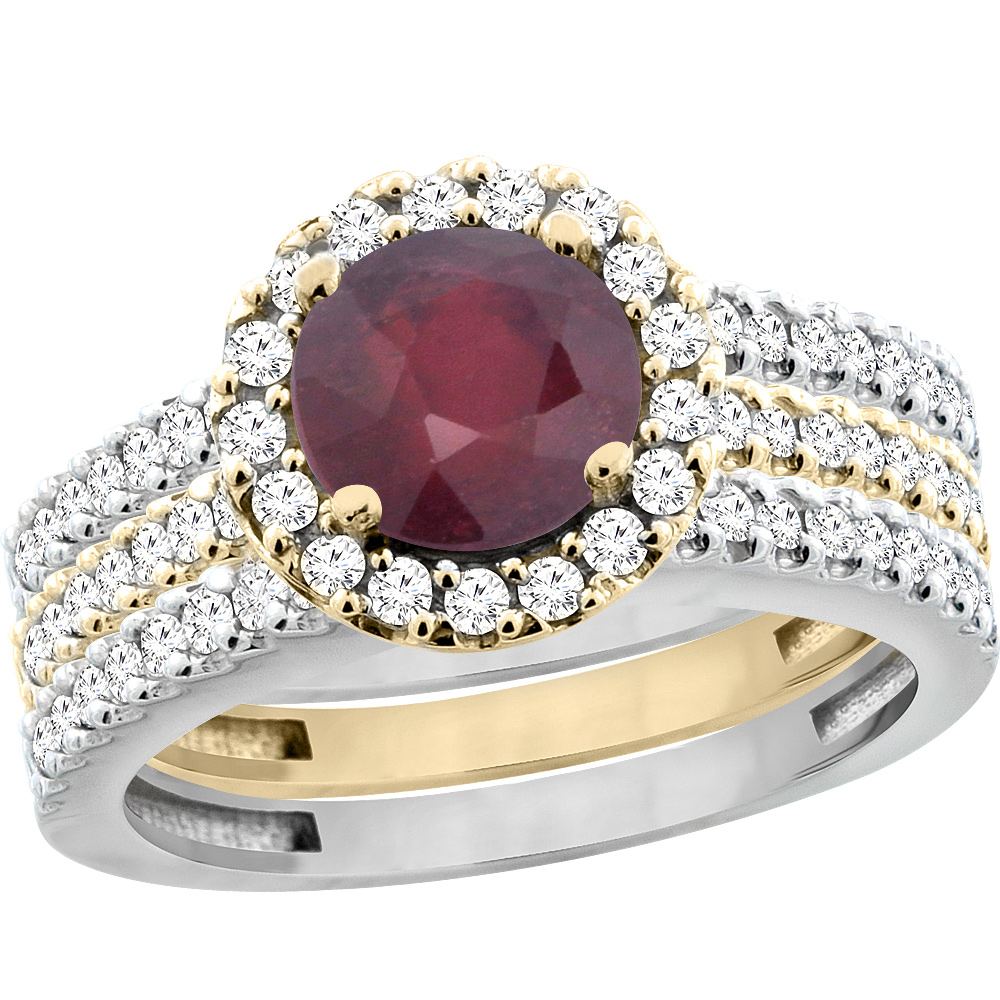 14K Gold Enhanced Ruby 3-Piece Ring Set Two-tone Round 6mm Halo Diamond, sizes 5 - 10