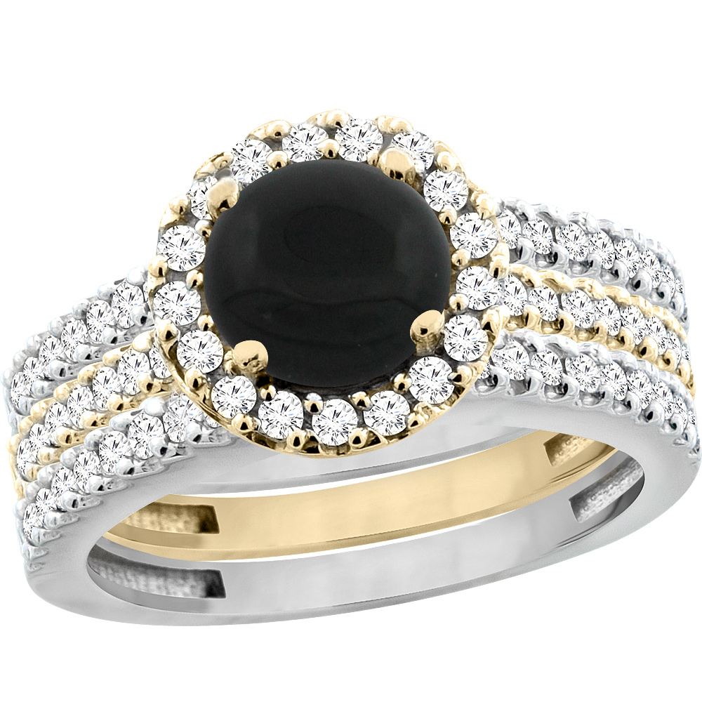 14K Gold Natural Black Onyx 3-Piece Ring Set Two-tone Round 6mm Halo Diamond, sizes 5 - 10