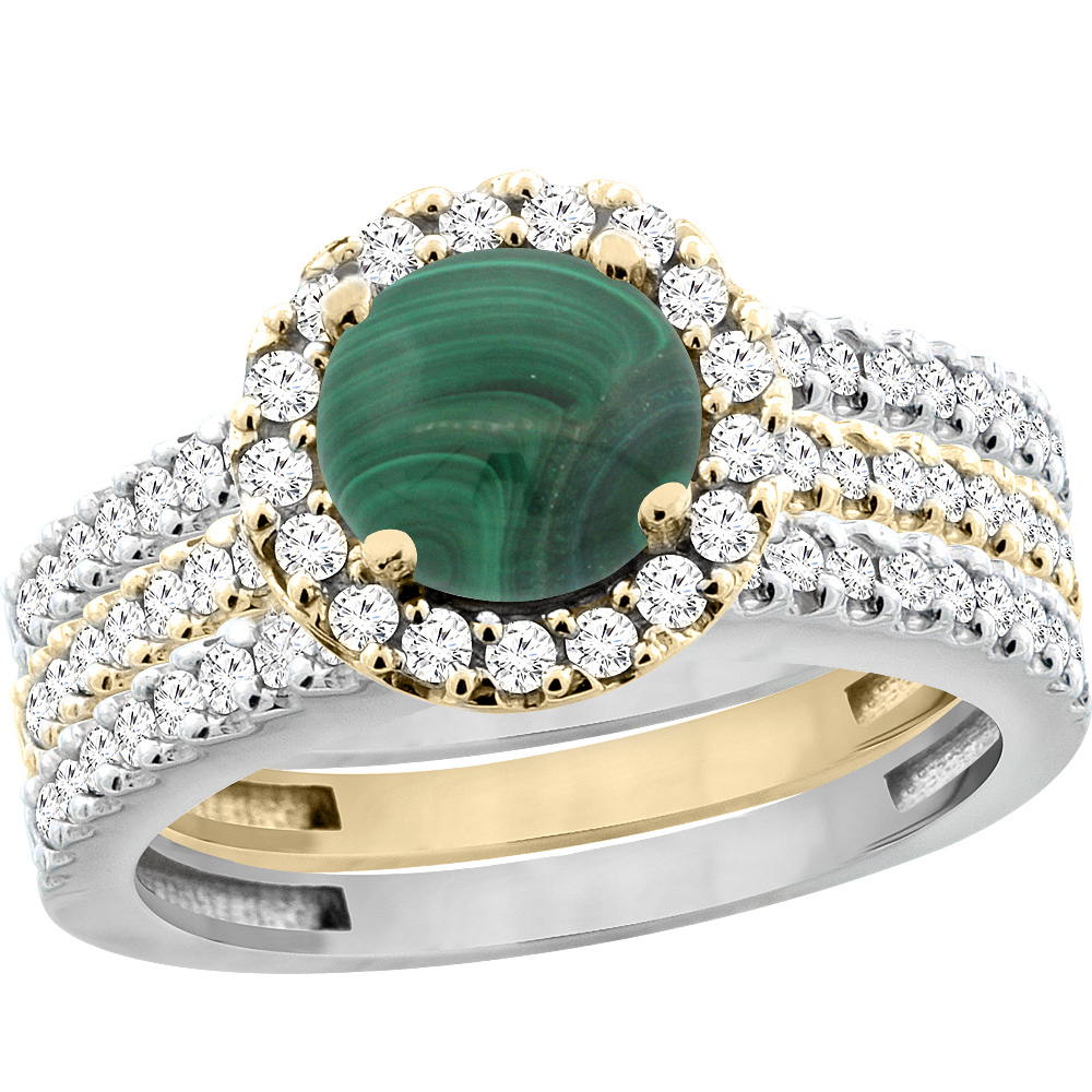 14K Gold Natural Malachite 3-Piece Ring Set Two-tone Round 6mm Halo Diamond, sizes 5 - 10