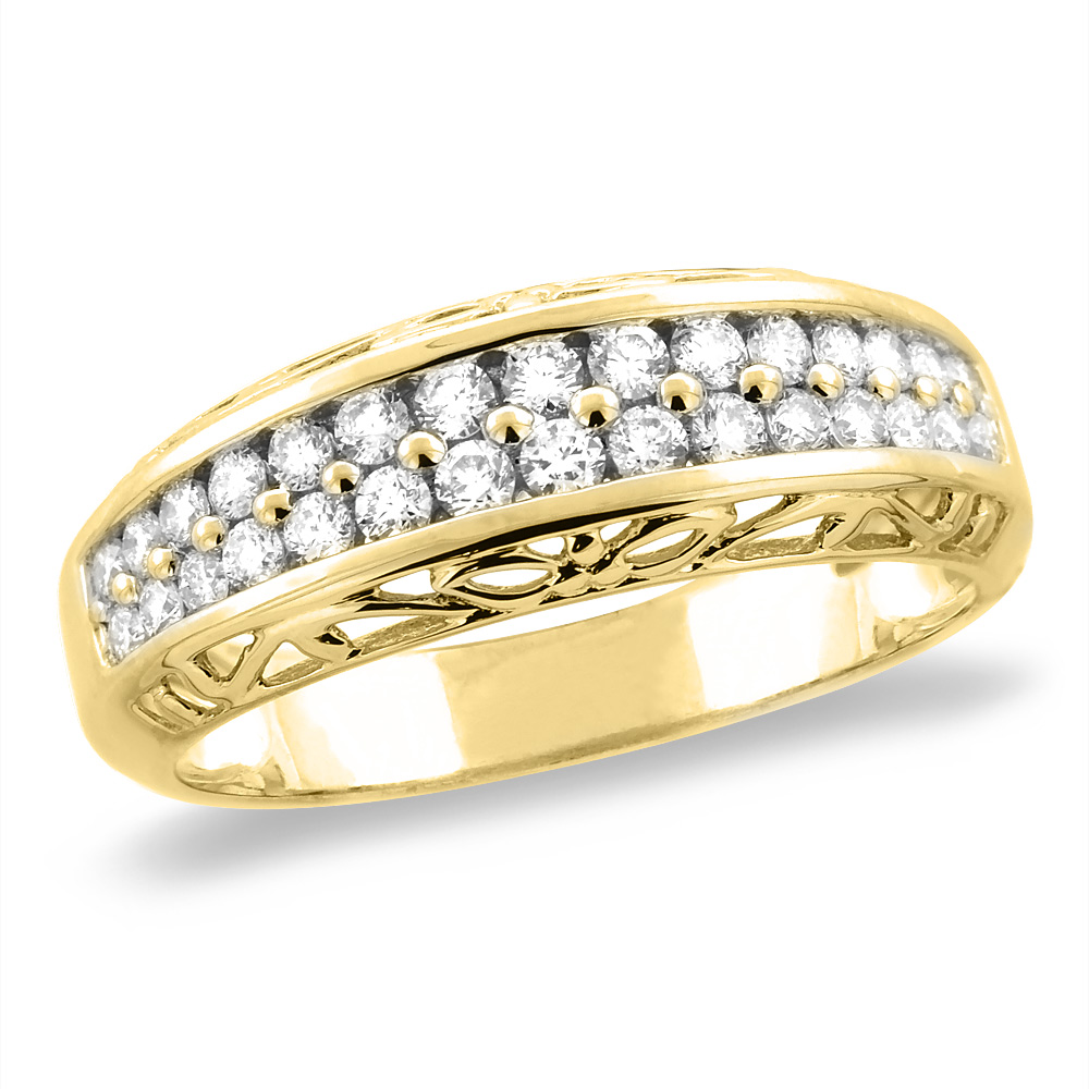 14K White/Yellow Gold 0.48 cttw Genuine Diamond 2row Half Eternity Wedding Band, sizes 5 - 10