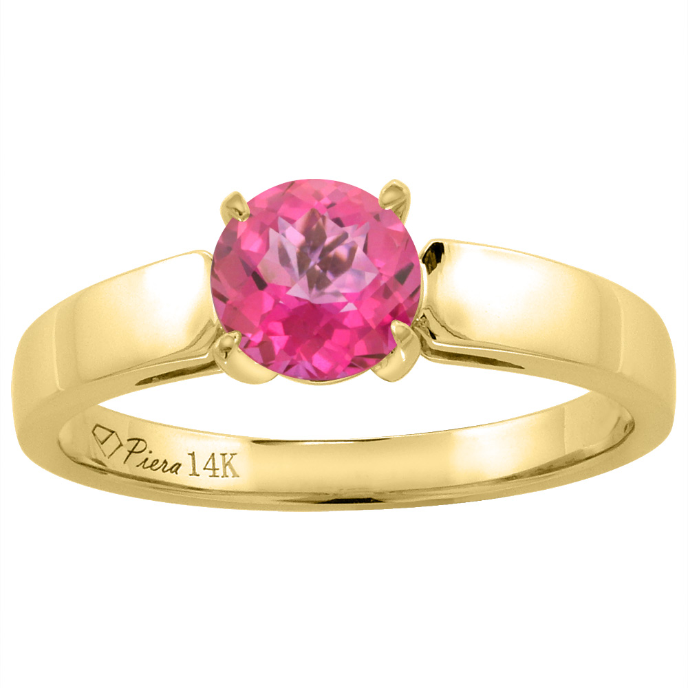 14K Yellow Gold Natural Pink Topaz Solitaire Engagement Ring Round 7 mm, sizes 5-10