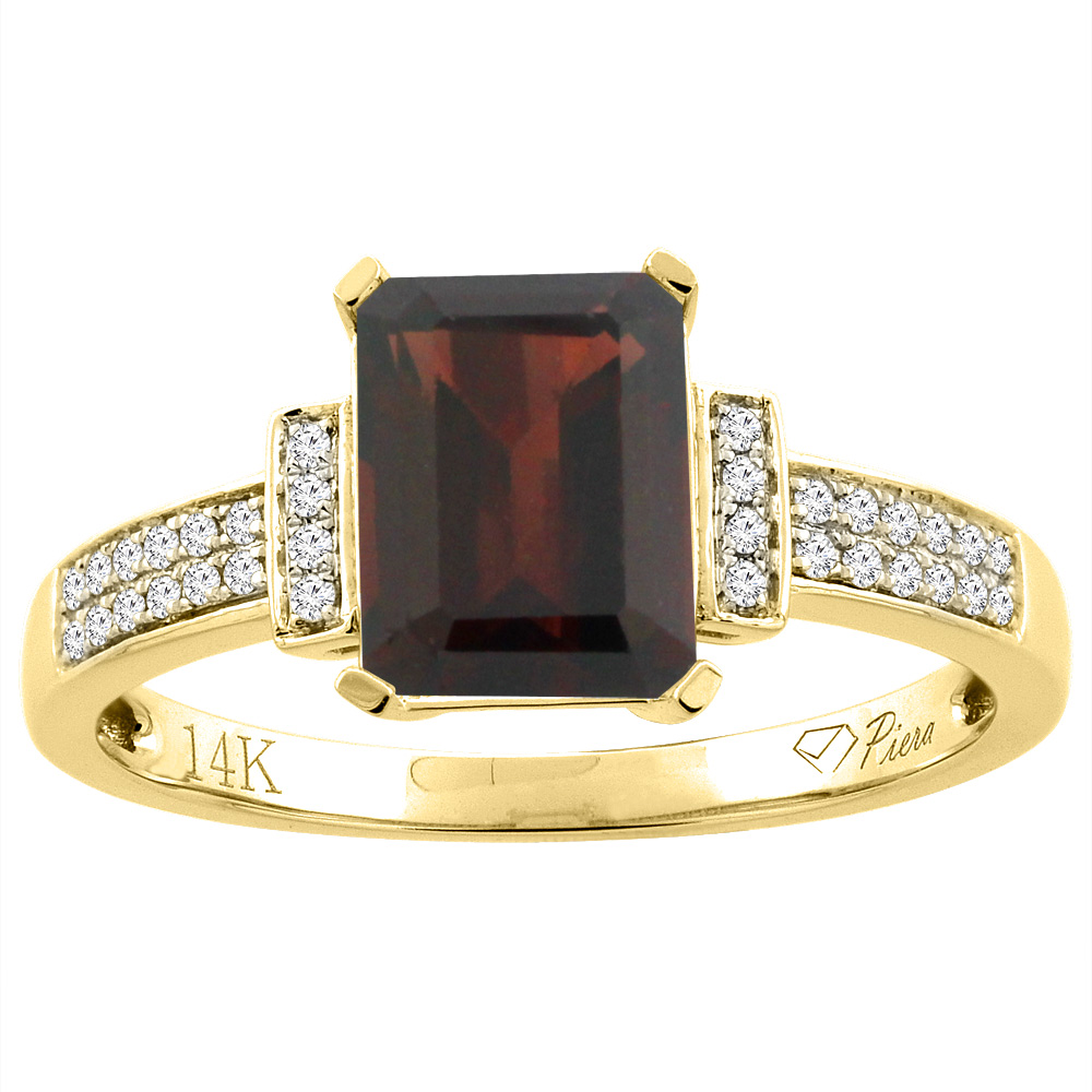 14K Gold Enhanced Ruby Ring Octagon 8x6 mm Diamond Accents, sizes 5 - 10
