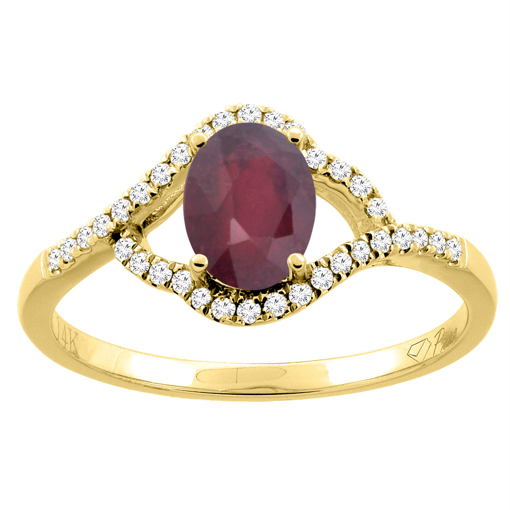 14K Gold Diamond Enhanced Genuine Ruby Engagement Ring Oval 7x5 mm, sizes 5 - 10