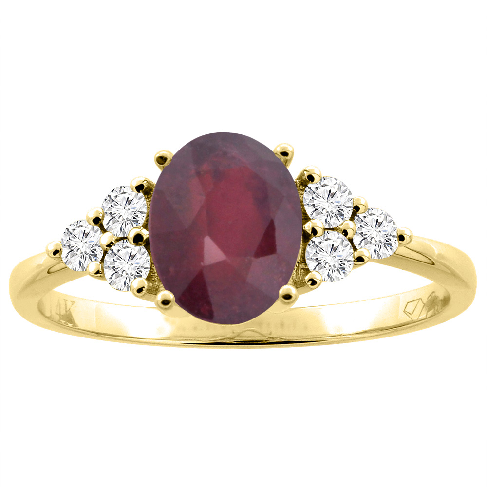 14K Gold Diamond Natural Quality Ruby Engagement Ring Oval 8x6 mm, size 5 - 10