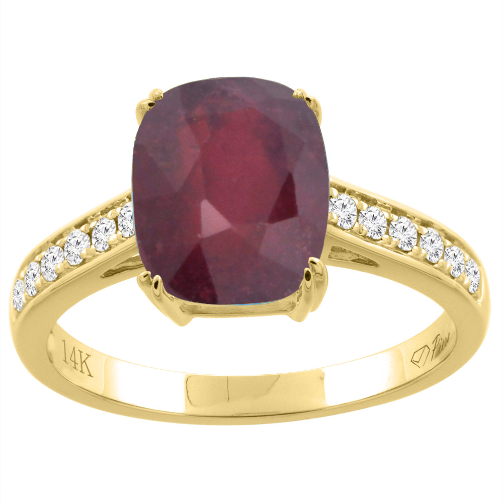 14K Gold Enhanced Ruby Ring Cushion Cut 9x7 mm Diamond Accents, sizes 5 - 10