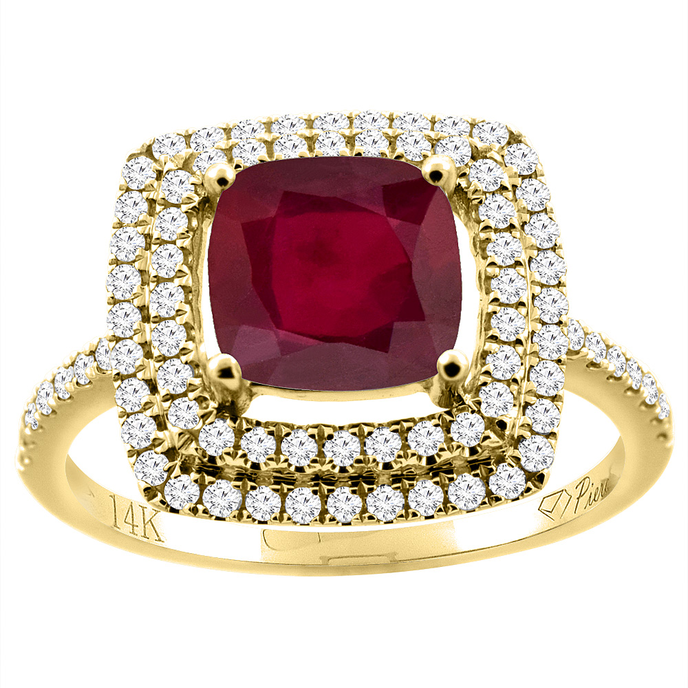 14K Gold Enhanced Genuine Ruby Ring Cushion-cut 7x7 mm Double Halo Diamond Accents, sizes 5 - 10