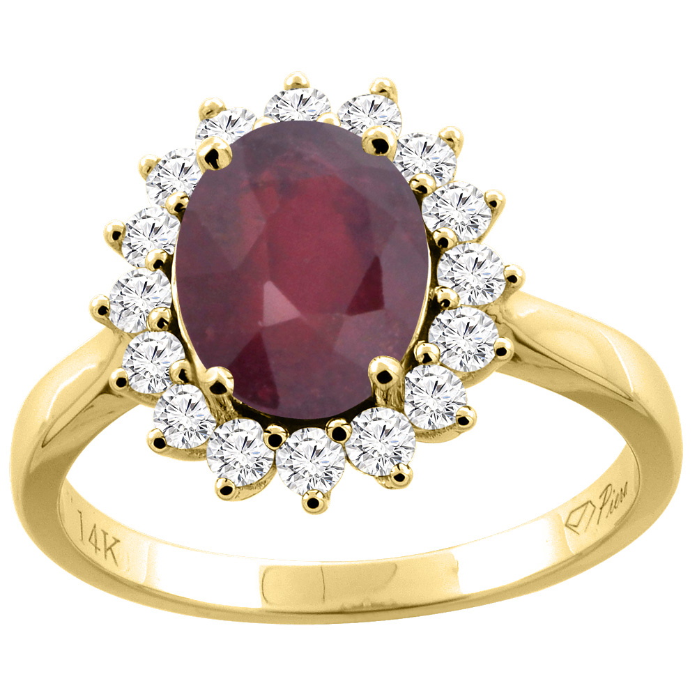 14K Gold Diamond Natural Quality Ruby Engagement Ring Oval 9x7 mm, size 5 - 10