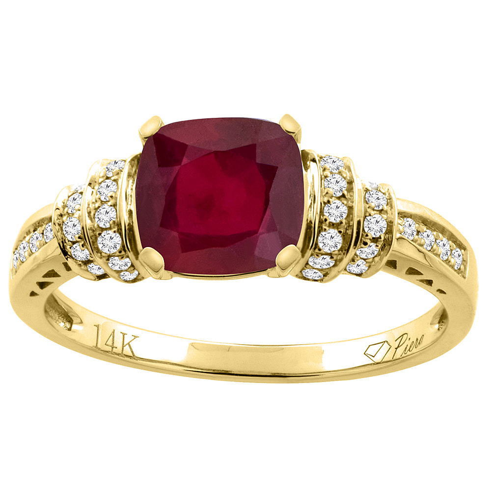 14K Gold Diamond and Enhanced Genuine Ruby Ring Cushion-cut 7x7 mm, sizes 5 - 10
