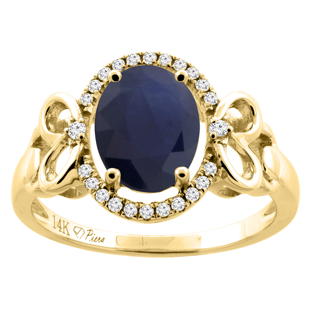 14K Gold Natural Diffused Ceylon Sapphire Halo Ring Oval 9x7 mm Diamond & Heart Accents, sizes 5 - 10