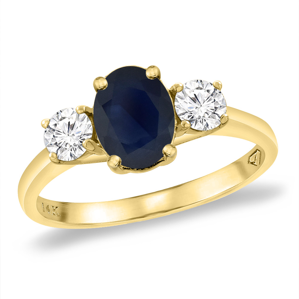 14K Yellow Gold Natural Australian Sapphire & 2pc. Diamond Engagement Ring Oval 8x6 mm, sizes 5 -10