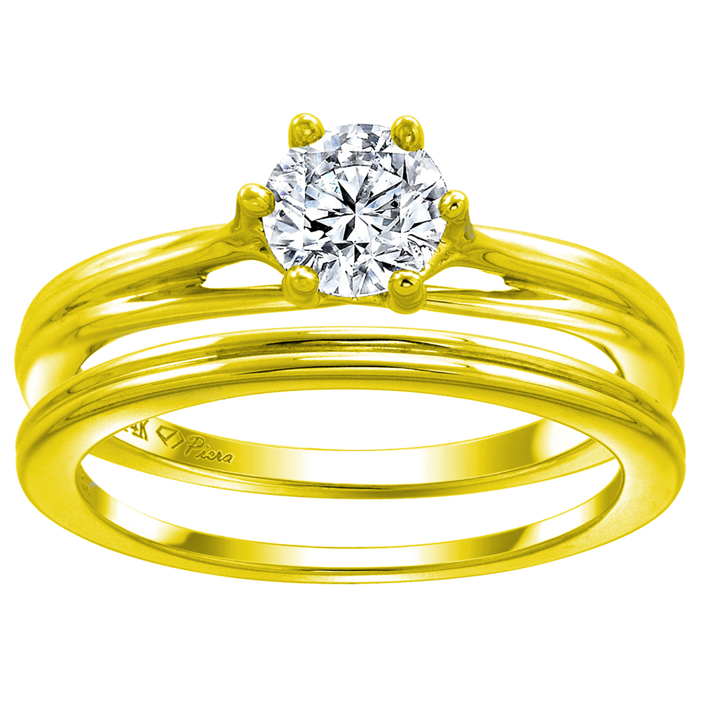 14k Yellow Gold 0.74cttw Genuine Diamond Solitaire Engagement 2pc Ring Set, size 5-10