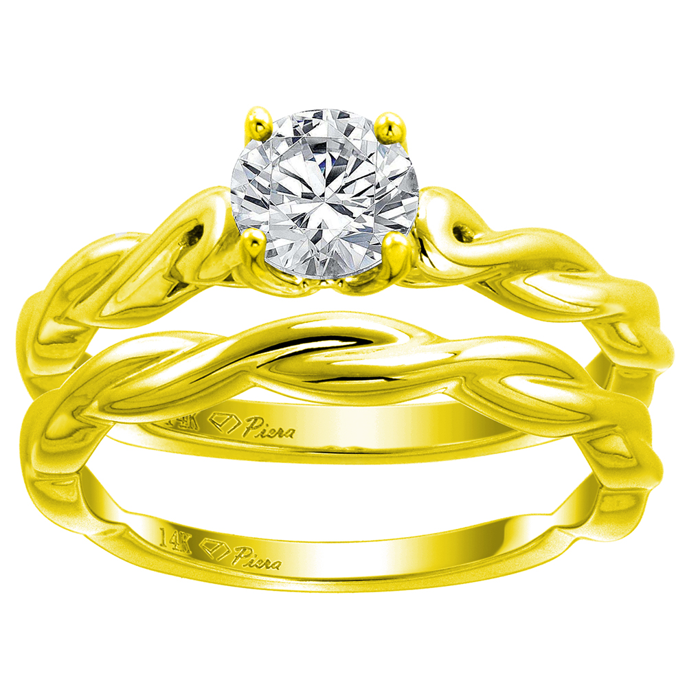 14k Yellow Gold 0.74 carat Genuine Diamond Solitaire Engagement 2pc Ring Set Twisted Shank, size 5-10