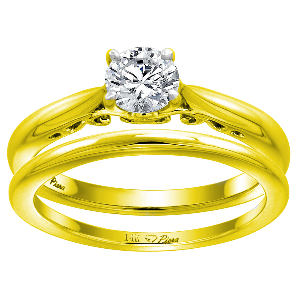 14k Yellow Gold 0.74cttw Genuine Diamond Solitaire Engagement 2pc Ring Set Round Brilliant cut, size 5-10