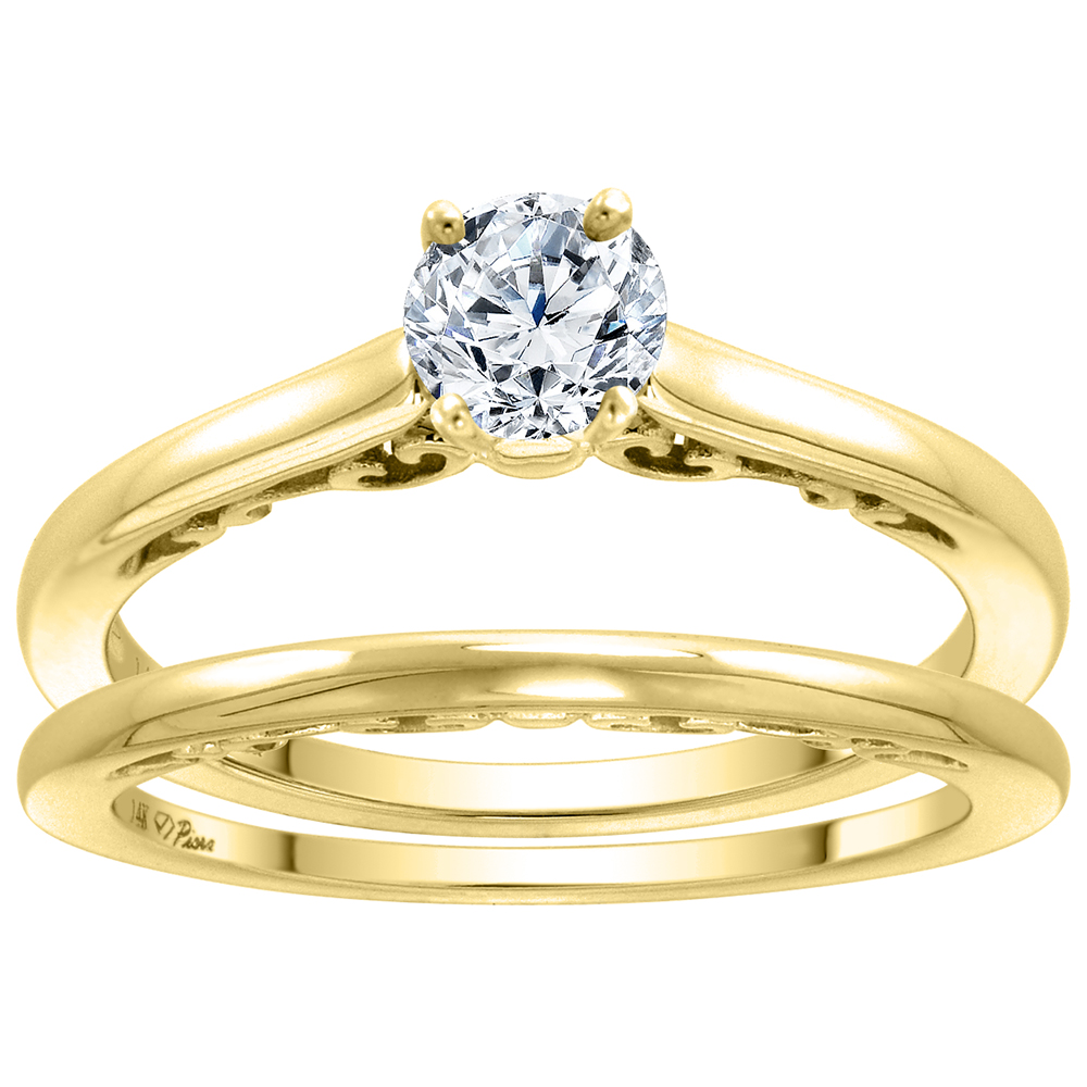 14k Yellow Gold 0.25 carat Genuine Diamond Solitaire Engagement 2pc Ring Set Round 4mm, size 5-10
