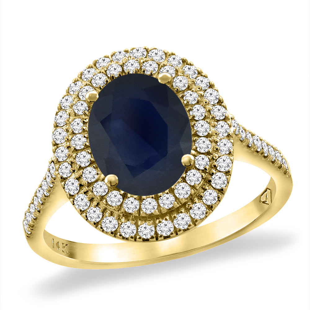 14K Yellow Gold Natural Diffused Ceylon Sapphire Two Halo Diamond Engagement Ring 9x7mmOval,size5-10