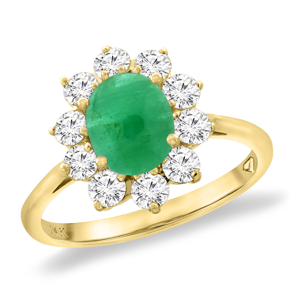 14K Yellow Gold Diamond Natural Cabochon Emerald Engagement Ring Oval 8x6 mm, sizes 5 -10