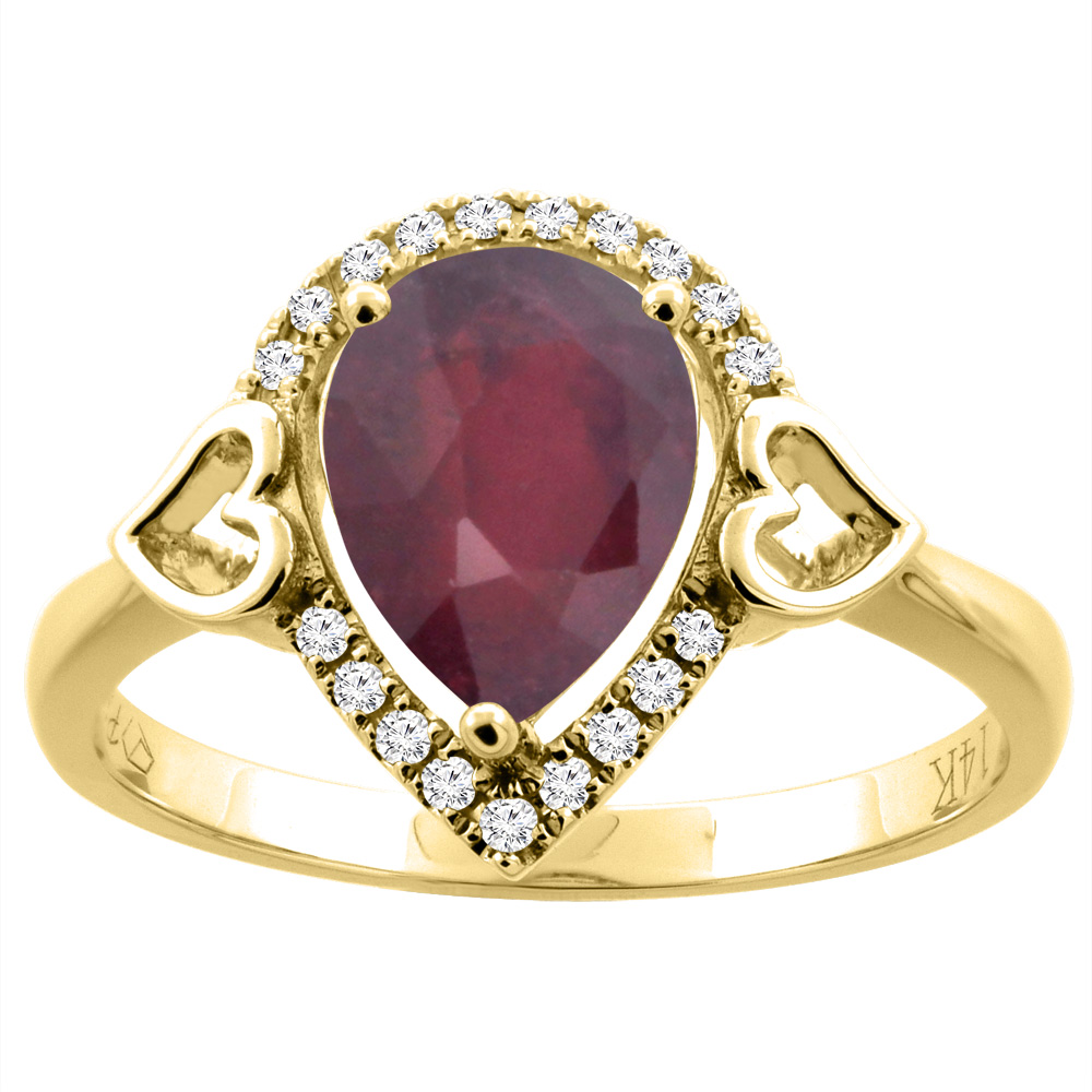 14K Gold Diamond Natural Quality Ruby Engagement Ring Pear Shape 9x7 mm, size 5 - 10