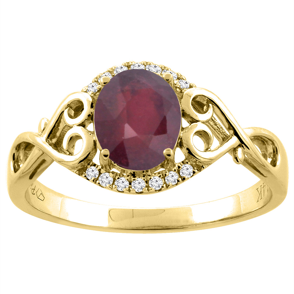 14K Gold Diamond Natural Quality Ruby Engagement Ring Oval 8x6 mm Diamond & Heart Accents, size 5 - 10