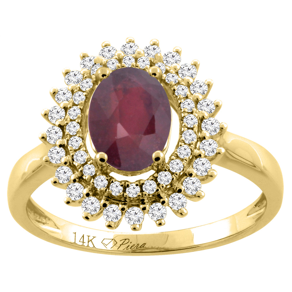 14K Gold Diamond Double Halo Natural Quality Ruby Engagement Ring Oval 8x6 mm, size 5 - 10