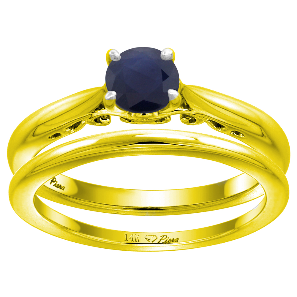 14k Yellow Gold Genuine Ceylon Sapphire Solitaire Engagement 2pc Ring Set Round 6mm, size 5-10