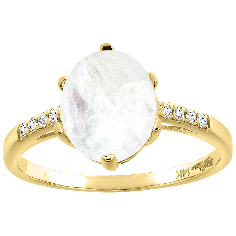 14K Yellow Gold Natural Rainbow Moonstone & Diamond Ring Oval 10x8 mm, sizes 5-10