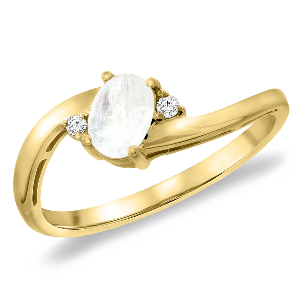 14K Yellow Gold Diamond Natural Rainbow Moonstone Bypass Engagement Ring Oval 6x4 mm, sizes 5 -10