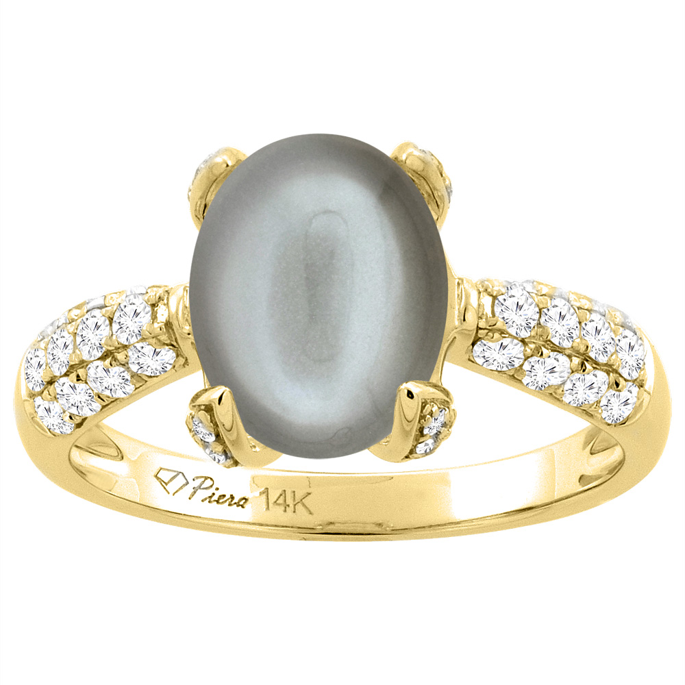 14K Yellow Gold Natural Gray Moonstone Engagement Ring Oval 16x12 mm & Diamond Accents, sizes 5 - 10
