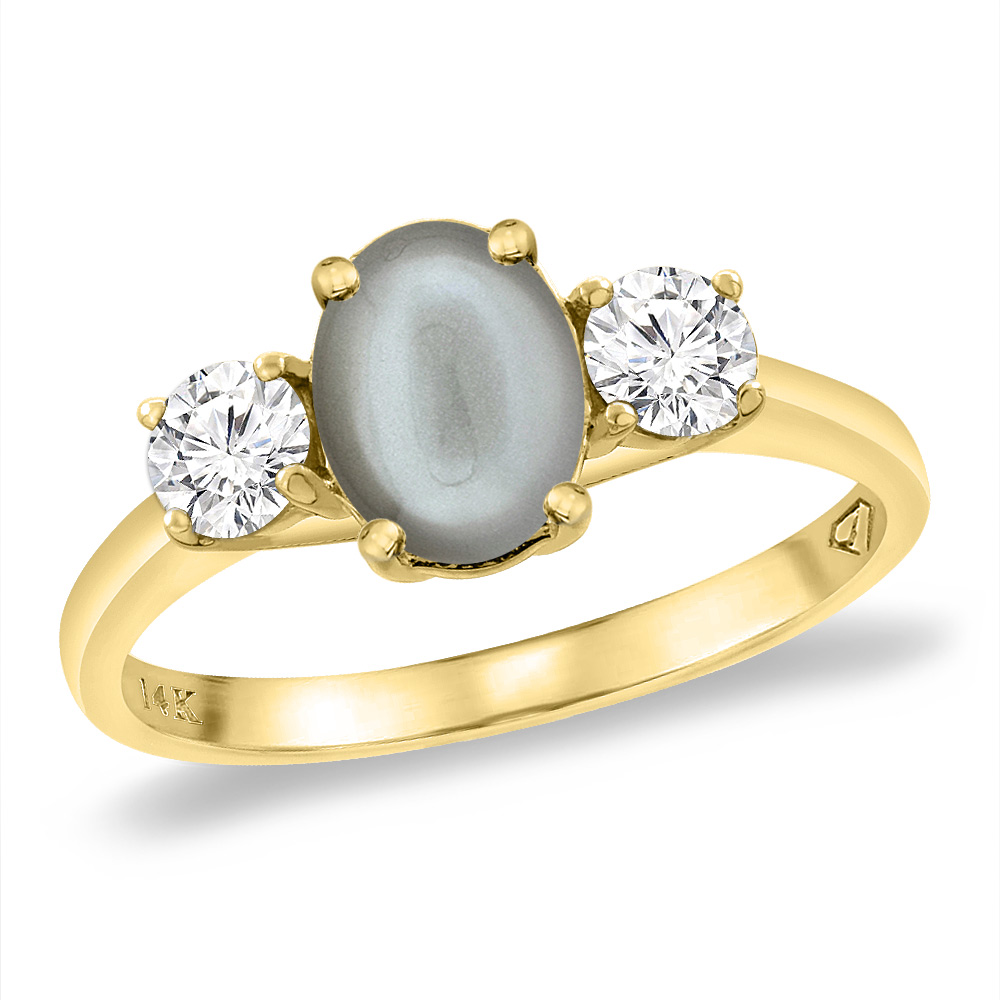 14K Yellow Gold Natural Gray Moonstone & 2pc. Diamond Engagement Ring Oval 8x6 mm, sizes 5 -10
