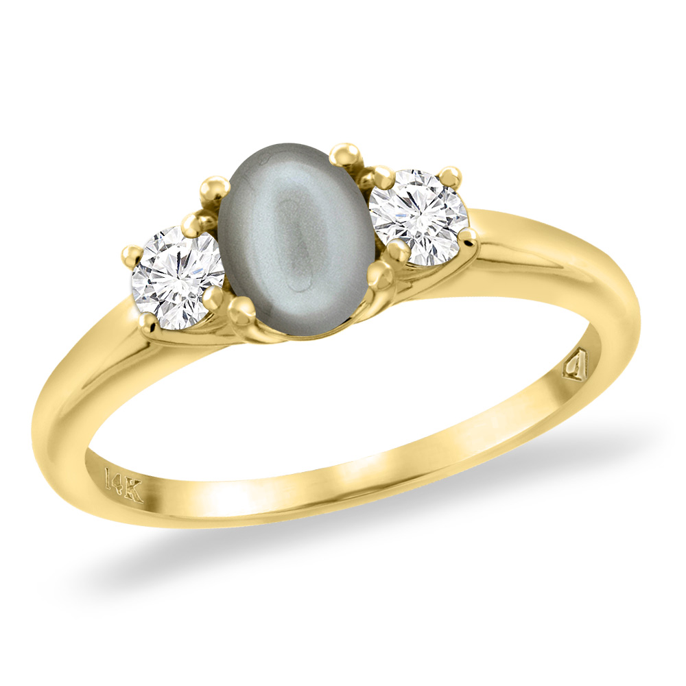 14K Yellow Gold Natural Gray Moonstone Engagement Ring Diamond Accents Oval 7x5 mm, sizes 5 -10