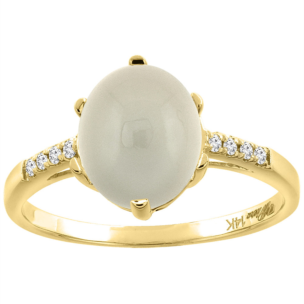 14K Yellow Gold Natural Light Gray Moonstone & Diamond Ring Oval 10x8 mm, sizes 5-10