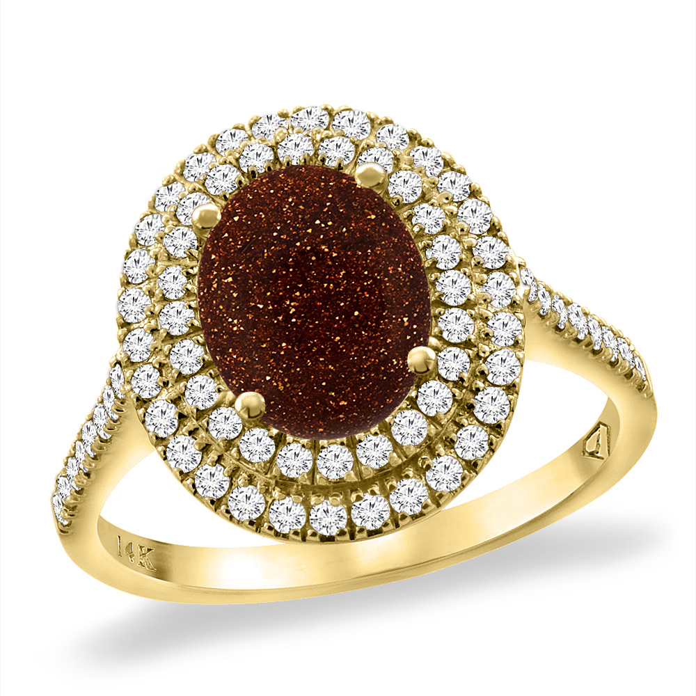 14K Yellow Gold Natural Gold Goldstone Two Halo Diamond Engagement Ring 9x7 mm Oval, sizes 5 -10