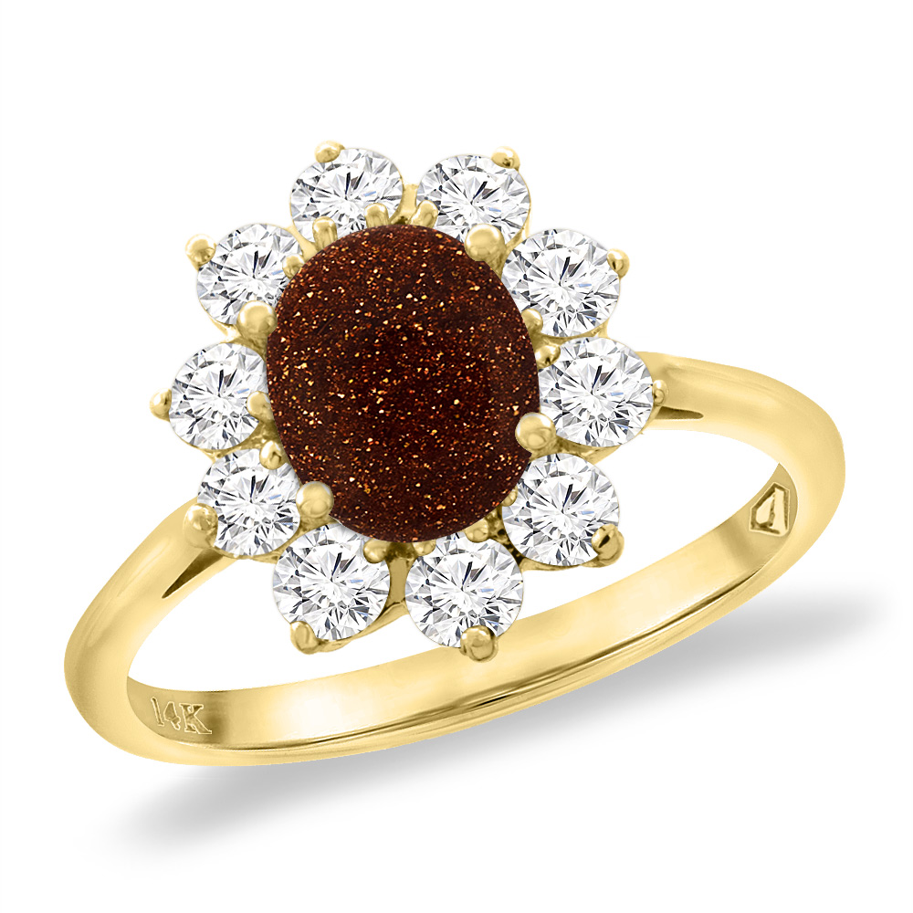 14K Yellow Gold Diamond Natural Goldstone Engagement Ring Oval 8x6 mm, sizes 5 -10