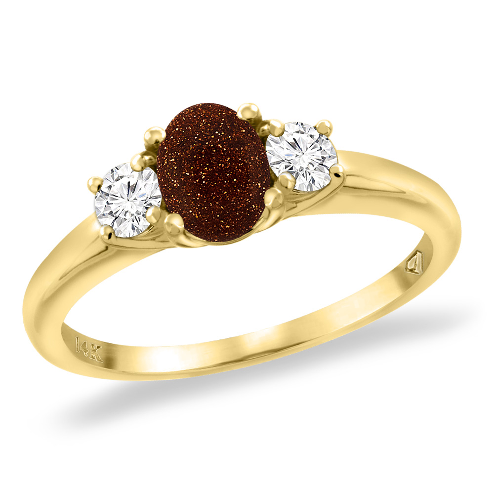 14K Yellow Gold Natural Goldstone Engagement Ring Diamond Accents Oval 7x5 mm, sizes 5 -10