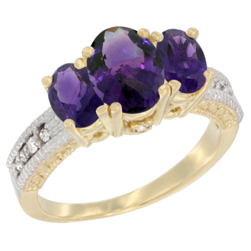 10K Yellow Gold Diamond Natural Amethyst Ring Oval 3-stone, sizes 5 - 10