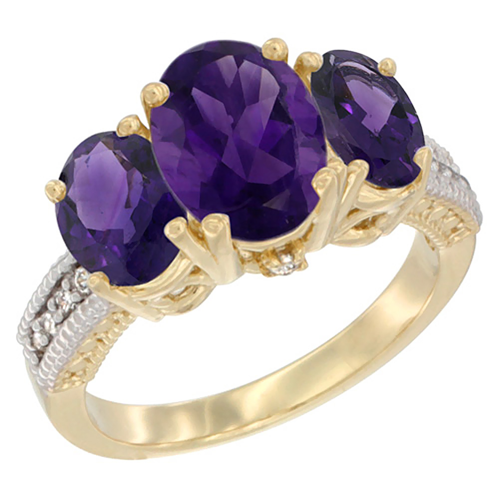 10K Yellow Gold Natural Amethyst Ring Ladies 3-Stone 8x6 Oval Diamond Accent, sizes 5 - 10