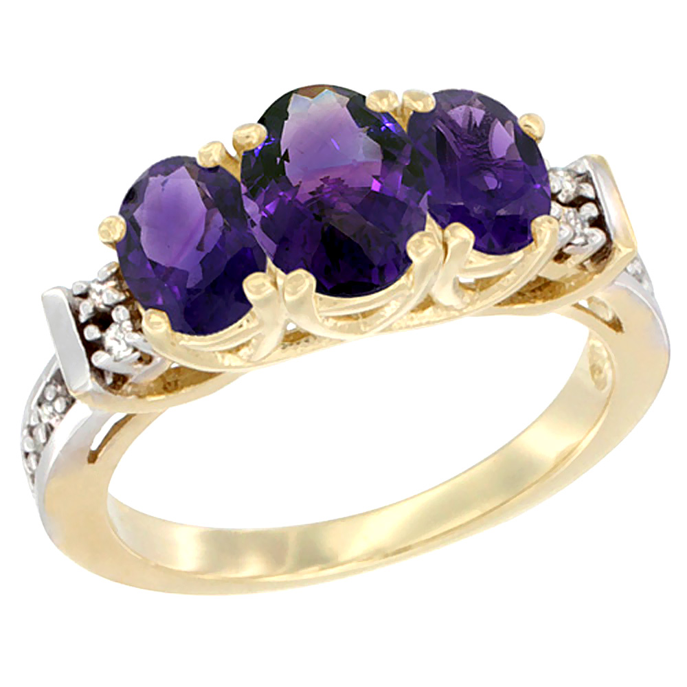 10K Yellow Gold Natural Amethyst Ring 3-Stone Oval Diamond Accent
