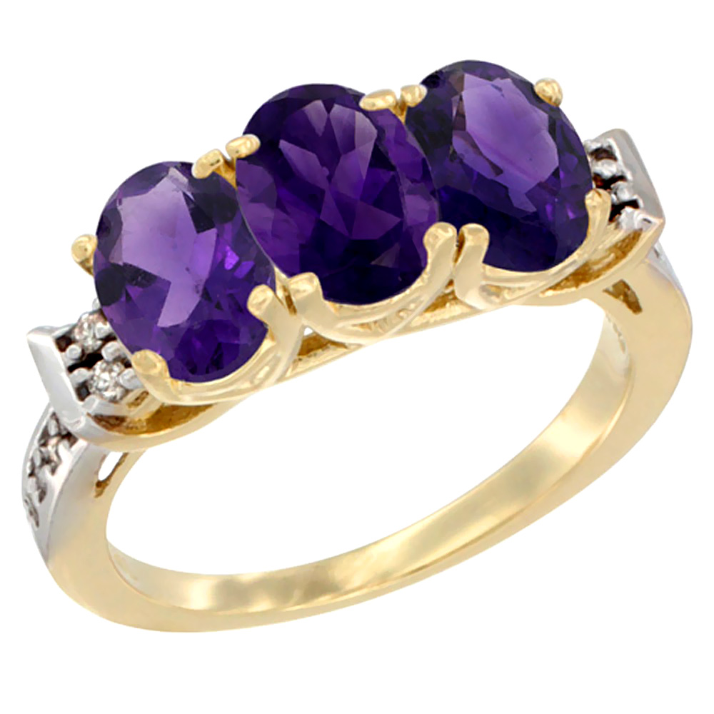 10K Yellow Gold Natural Amethyst Ring 3-Stone Oval 7x5 mm Diamond Accent, sizes 5 - 10
