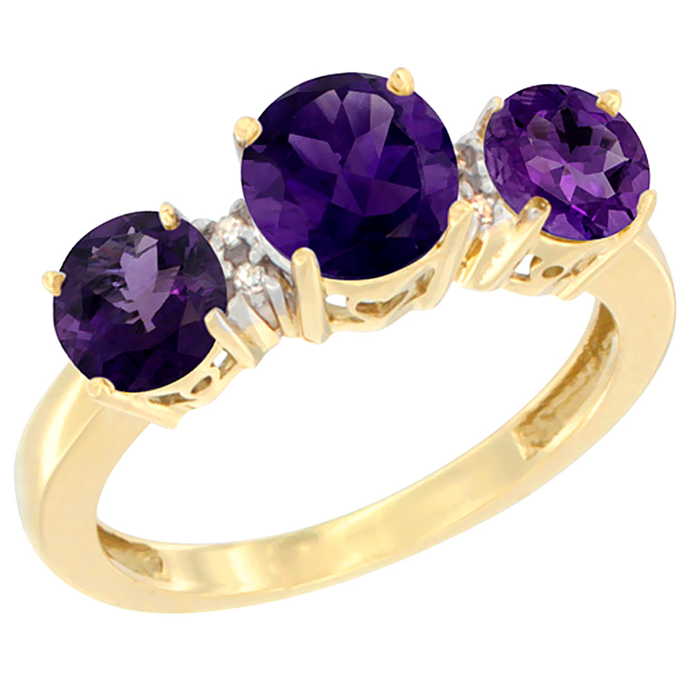 10K Yellow Gold Round 3-Stone Natural Amethyst Ring Diamond Accent, sizes 5 - 10