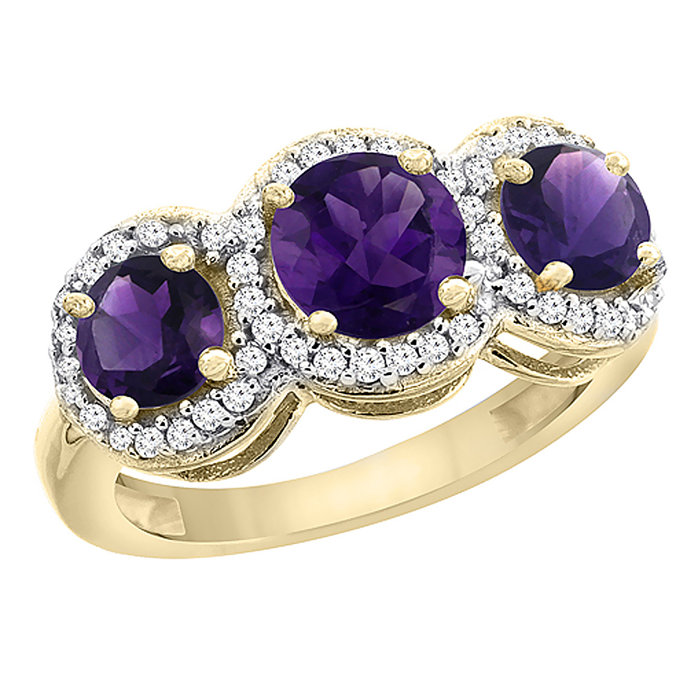 10K Yellow Gold Natural Amethyst Round 3-stone Ring Diamond Accents, sizes 5 - 10