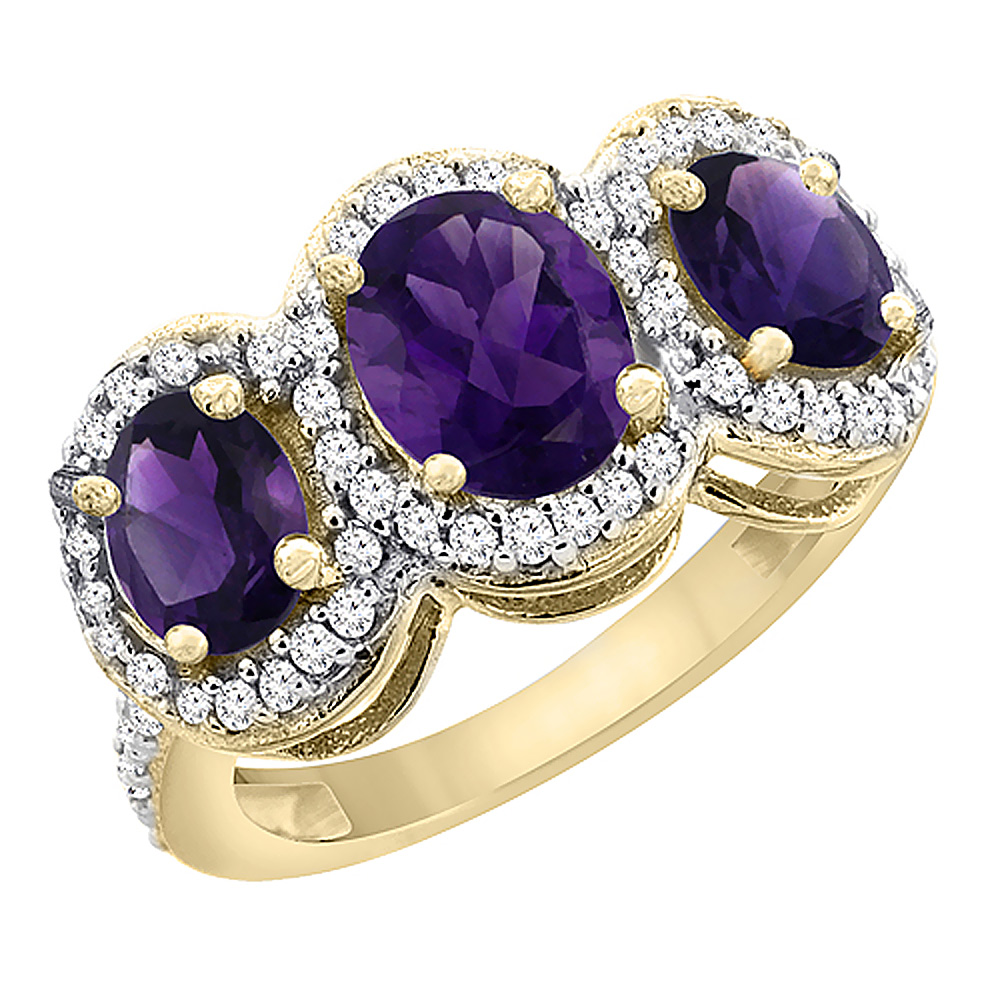 10K Yellow Gold Natural Amethyst 3-Stone Ring Oval Diamond Accent, sizes 5 - 10