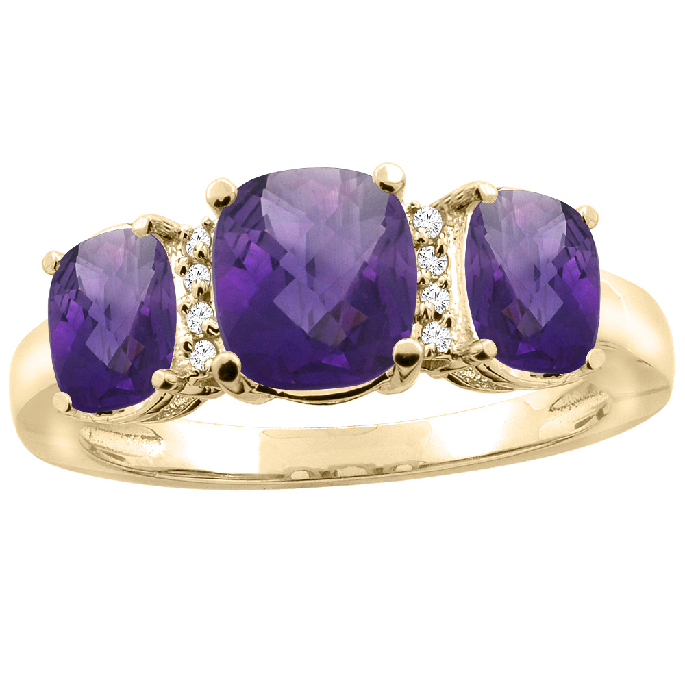10K Yellow Gold Natural Amethyst 3-stone Ring Cushion 8x6mm Diamond Accent, sizes 5 - 10