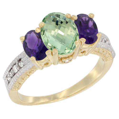 14K Yellow Gold Diamond Natural Green Amethyst Ring Oval 3-stone with Amethyst, sizes 5 - 10