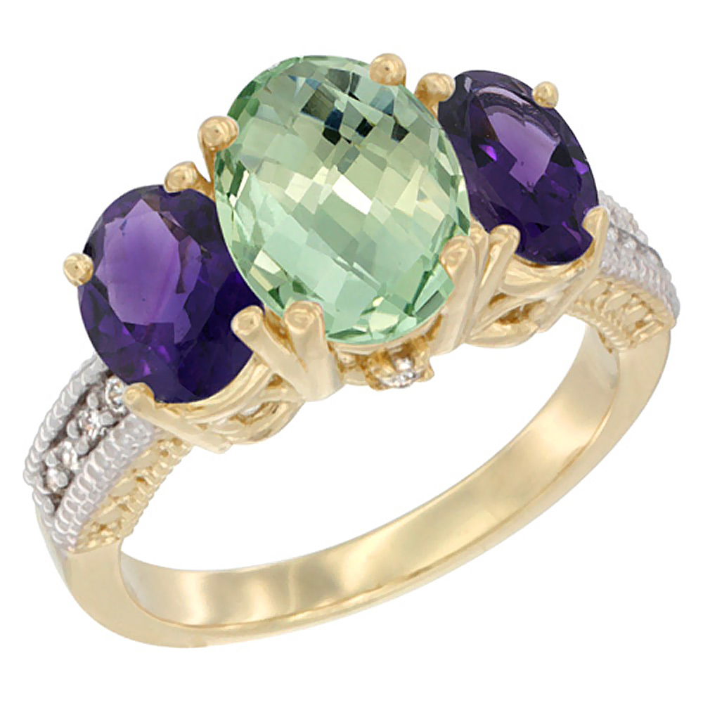 10K Yellow Gold Natural Green Amethyst Ring Ladies 3-Stone 8x6 Oval with Amethyst Sides Diamond Accent, sizes 5 - 10