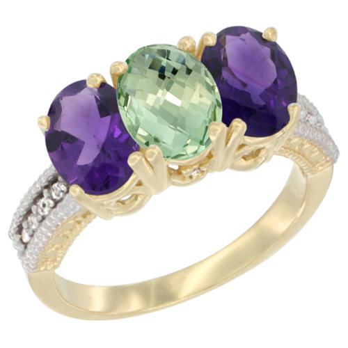 10K Yellow Gold Diamond Natural Purple & Green Amethysts Ring Oval 3-Stone 7x5 mm,sizes 5-10