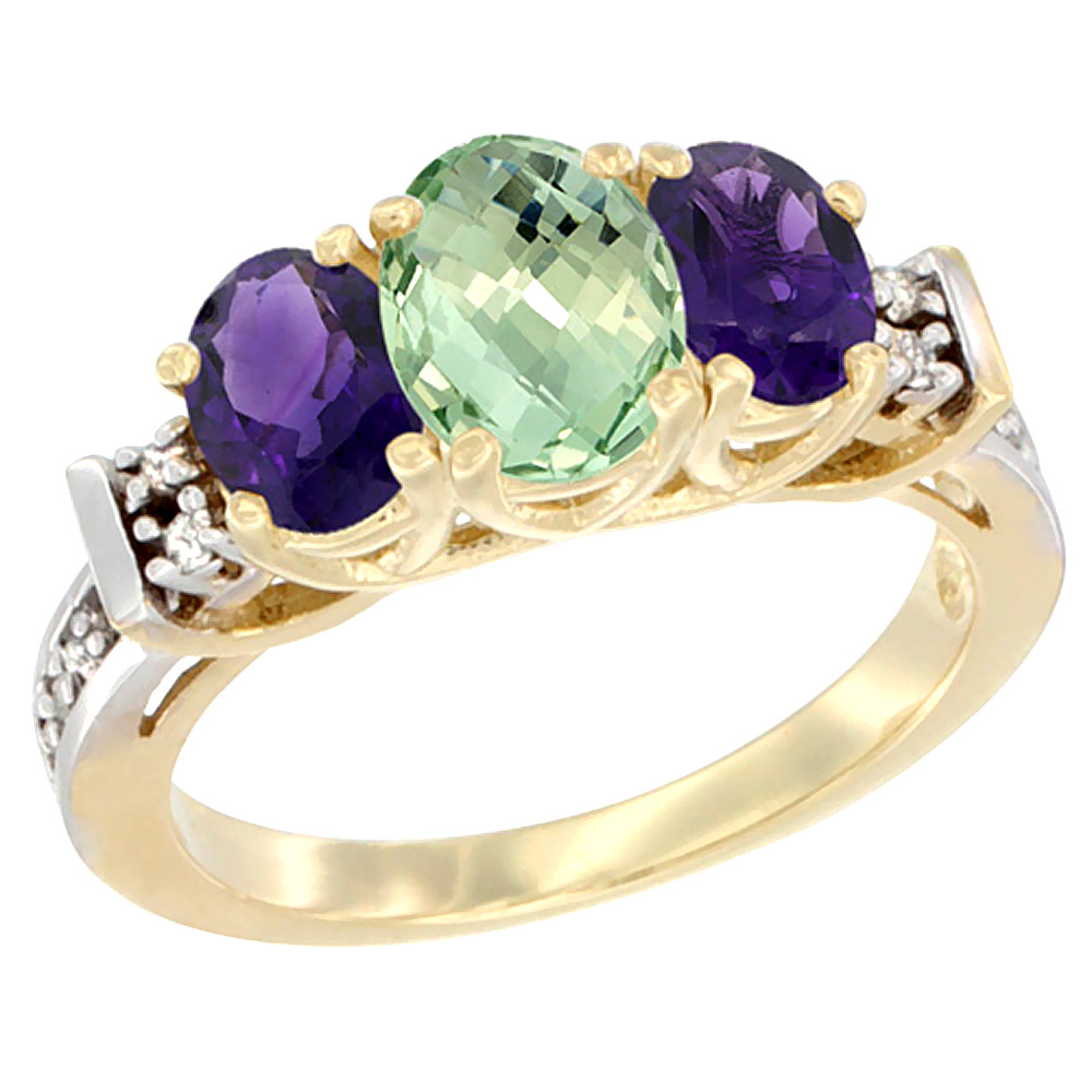 10K Yellow Gold Natural Purple & Green Amethysts Ring 3-Stone Oval Diamond Accent