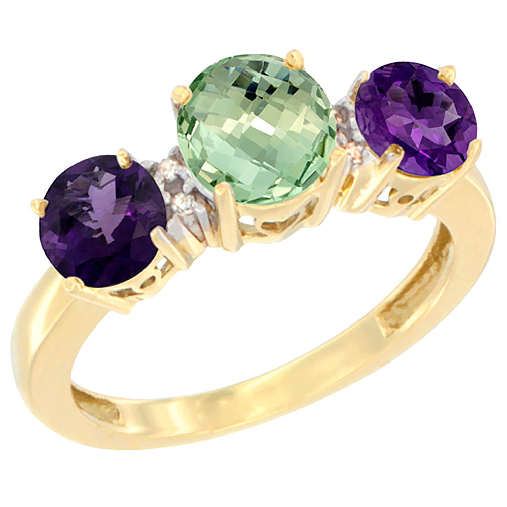 10K Yellow Gold Round 3-Stone Natural Green Amethyst Ring & Amethyst Sides Diamond Accent, sizes 5 - 10