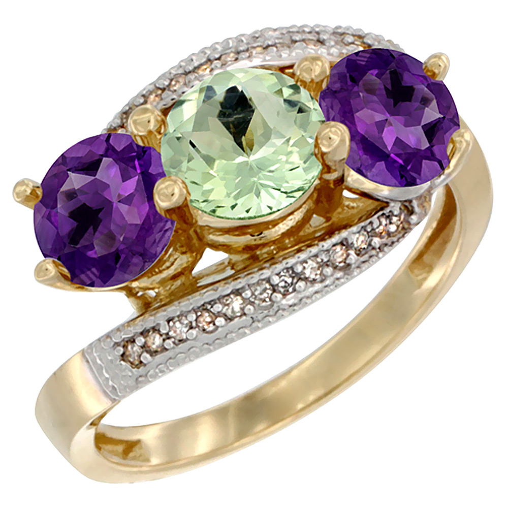 14K Yellow Gold Natural Green & Purple Amethysts 3 stone Ring Round 6mm Diamond Accent, sizes 5 - 10