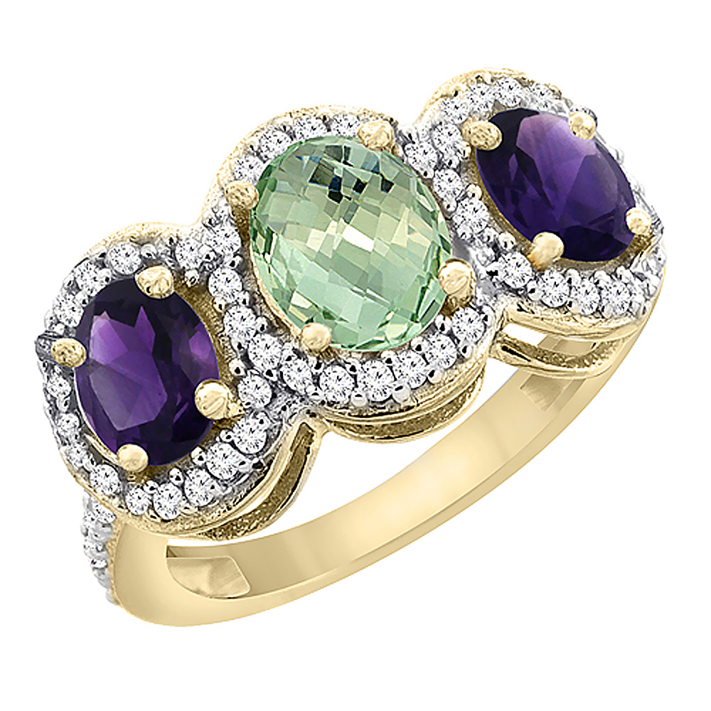 14K Yellow Gold Natural Green Amethyst & Purple Amethyst 3-Stone Ring Oval Diamond Accent, sizes 5 - 10