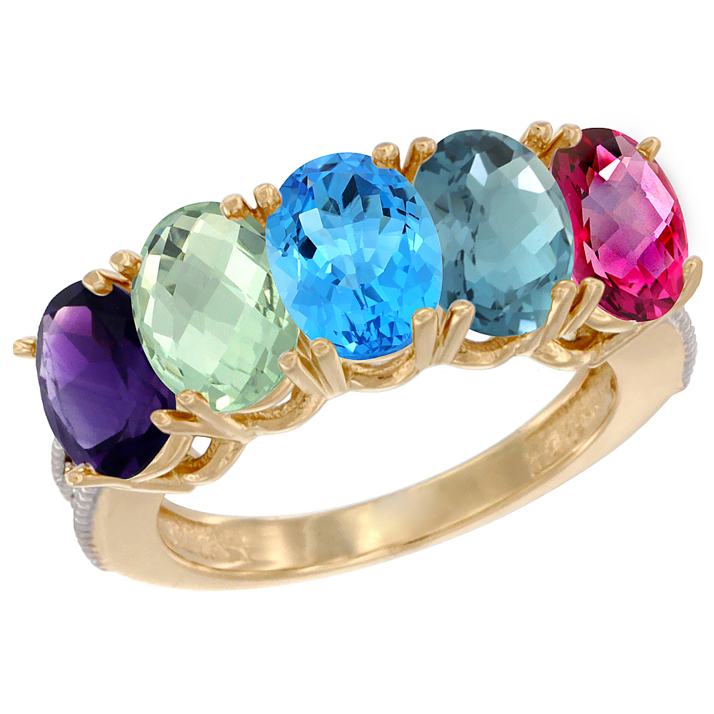10K Yellow Gold Natural Multi-colored Gemstone 5-Stone Mother's Ring Oval 7x5mm with Diamond Accents, sizes 5 - 10
